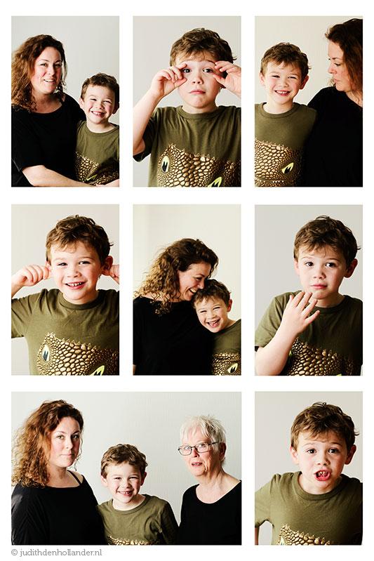 Familieportret | Fotocompilatie | Moeder met zoon en oma | Fotograaf Haarlem, Maastricht, Hasselt (Judith den Hollander).