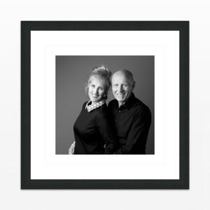 Archival Photo Prints.  Wall Art | Example of a Black-and-White Double Portrait | Photo Frame presentation with Passe-partout, behind Museumglass. Photo on special Black-and-White photo paper | Studio  JDH, Photographer Judith den Hollander, Haarlem, Maastricht.