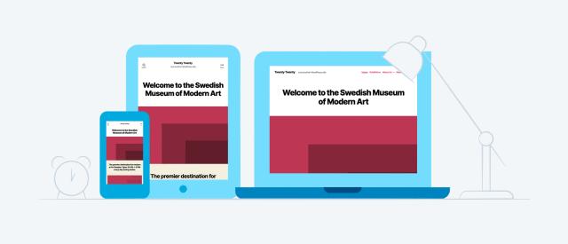 WordPress Thema Twenty Twenty. Zie hier een voorbeeld op diverse schermen. Schitterend flexibel thema dat voldoet aan alle website eisen van deze tijd. Studio JDH, ook voor WordPress Thema diensten.